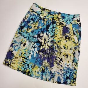 ANN TAYLOR blue green water color printed skirt 2